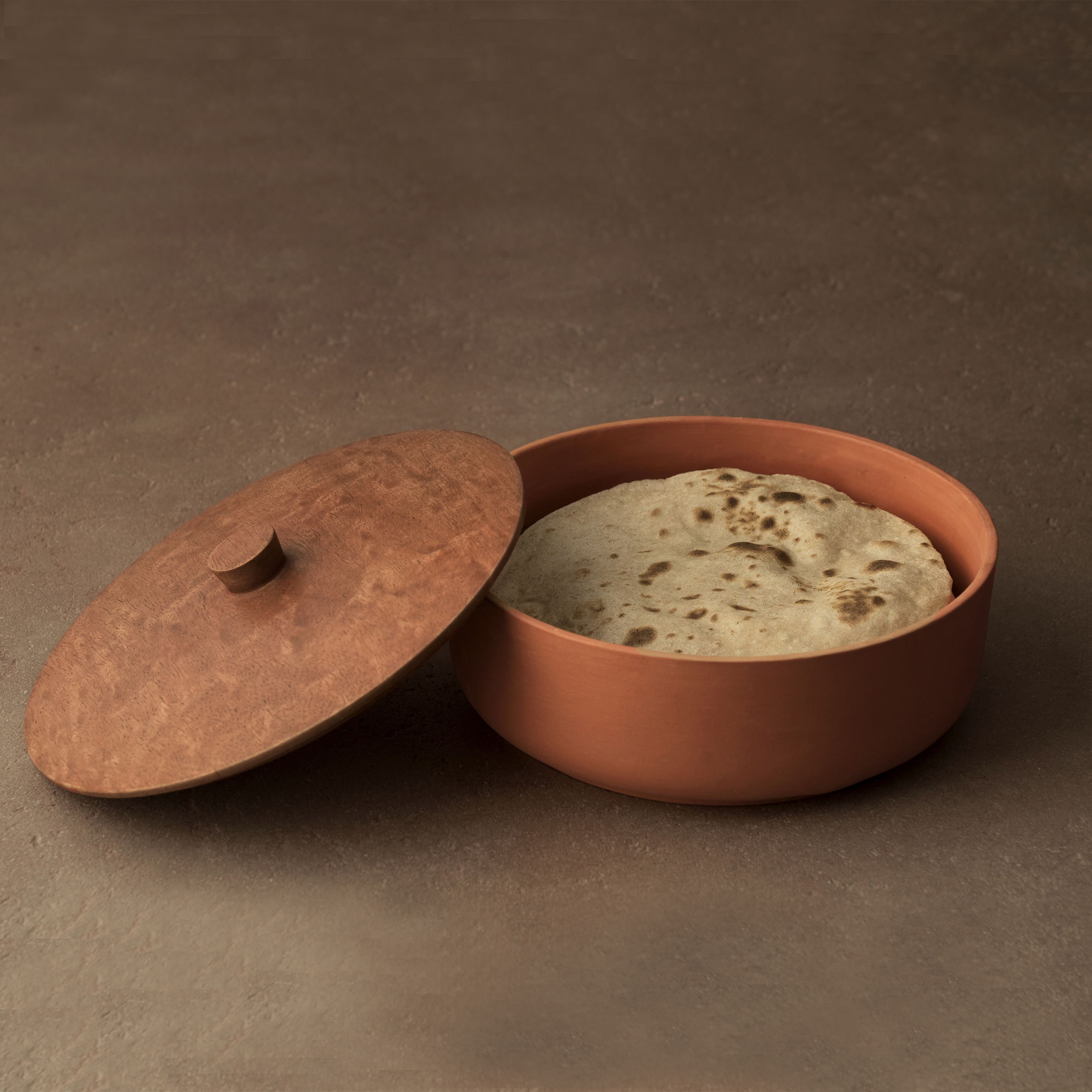 Buy Terracotta Roti Box With Wooden Lid Online Ellementry