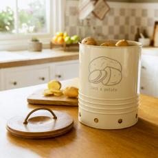 egg shell metal potato storage bin with wooden lid