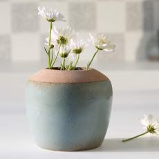 Aqua Rustic Ceramic Vase (Small)
