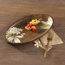 Frangipani Oval Wooden Platter(Large)