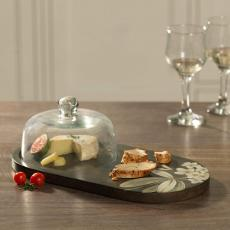 Frangipani Glass Cloche with Wooden Platter
