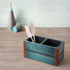 blue wood cutlery stand