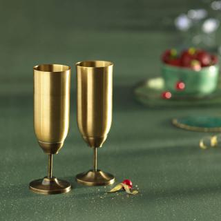 Tallboy Brass Flute Glass Set of 2