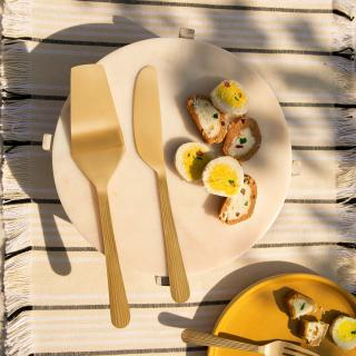 Celestial Brass Cake Slice Spoon Set of 2