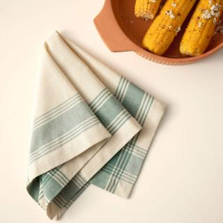 Teal Blue Border 100% Cotton Napkin Set of 6