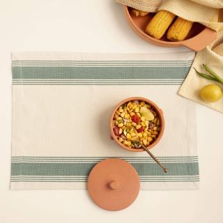 Teal Blue Border 100% Cotton Placemat Set of 6