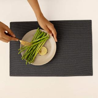 Pinstriped 100% Cotton Placemat Set of 6 (Charcoal Grey)
