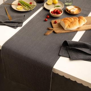 Pinstriped 100% Cotton Table Runner (Charcoal Grey)