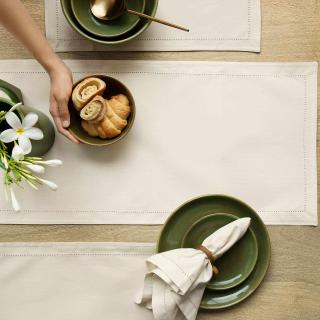 Pearl Grey Cotton Table Runner