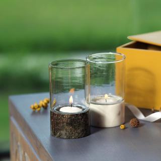 Moonlit Votive Set of 2 with 2 T-lights + Engineered Wooden Box