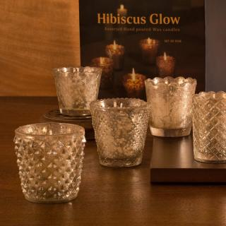 Hibiscus Glow Assorted Wax Candles Set of five