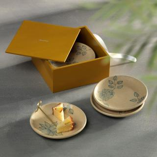 Fiore Ceramic Platters Set of 4 + Engineered Wooden Box