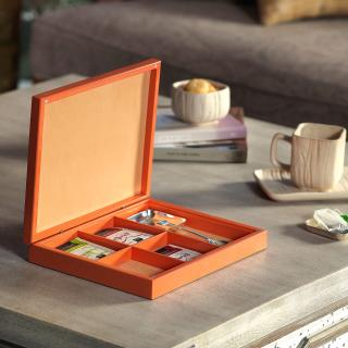 Tea Amore Gift Box Set Orange (One Box, Two Brass Teabag Rests & One Brass Teaspoon)