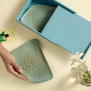 Feast Ceramic Platter Set of Two (Aqua Rustic)