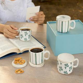 Neve Sage Tea Cup Set of Four (With Lid)