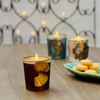 AuraMaroon Wax Filled Glass Votive