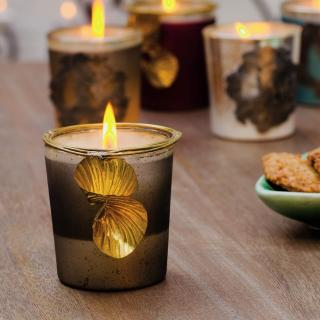 Aura Grey Wax Filled Glass Votive