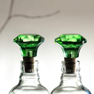 green glass bottle stopper (set of 2)