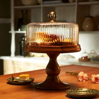 fluted glass cloche with wooden stand