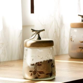 Twigy Frosted Glass Jar with Wooden Lid (Short)