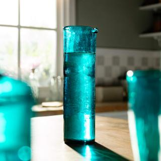 aqua deep glass carafe