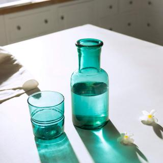 emerald glass carafe with tumbler
