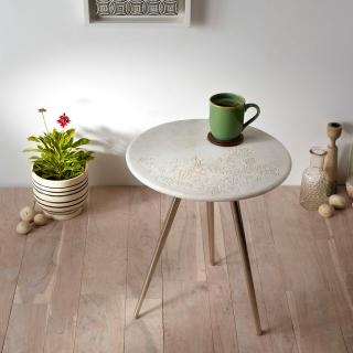 Round Marble Side Table with Steel Base