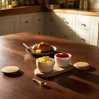 white marble condiment set with wooden lid