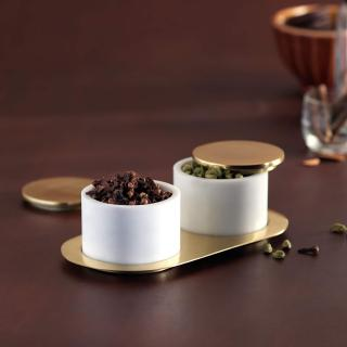 white marble condiment set with brass lid