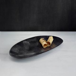 black textured metal platter- small