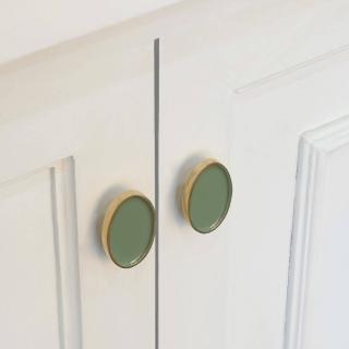 green oval metal knob (set of 2)