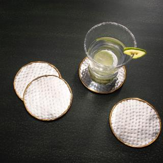 silver metal coaster (set of 4)