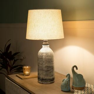 grey terracotta oval table lamp with shade