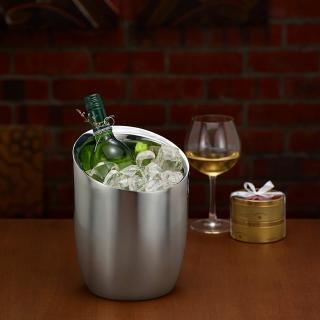 glossy silver metal wine cooler