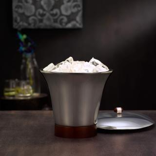 glossy silver ice bucket- large