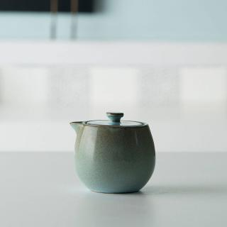 aqua rustic ceramic milk pot