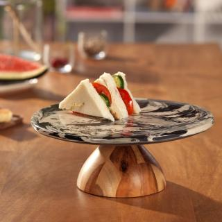 carbon ceramic and wooden cake stand