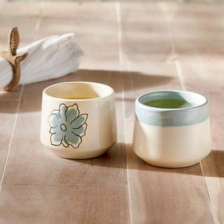 Blue Meadow Ceramic Green Tea Cup (Set of 2)