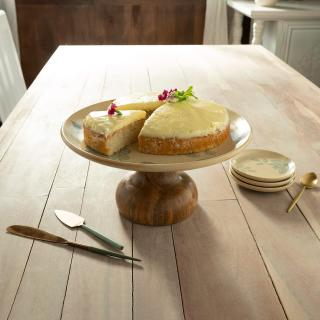 Fiore Ceramic Cake Stand with Wooden Base