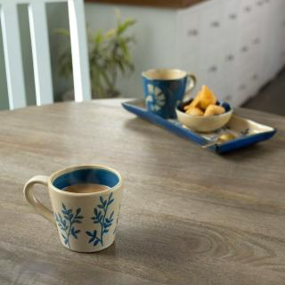 Indigo Lush (White) Ceramic Coffee Mug