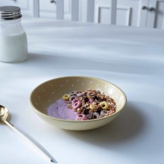 ceramic cereal bowl polka dots lemon