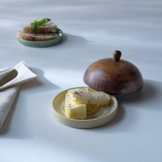 ceramic butter dish stripes w/wdn lid lemon