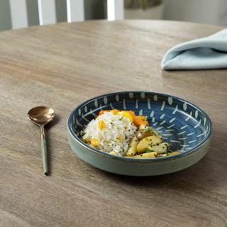 Indigo Stamp Ceramic Pasta Bowl