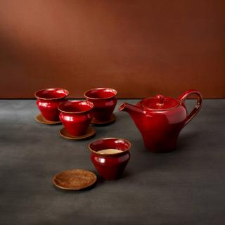cherrish red terracotta chai time teapot and kulhad cup set of 4