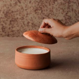 terracotta curd setter with wooden lid- small