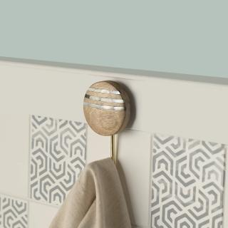 lines natural wooden wall hook