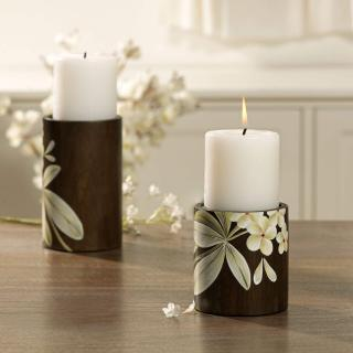 Frangipani Wooden Candle Holder (Small)