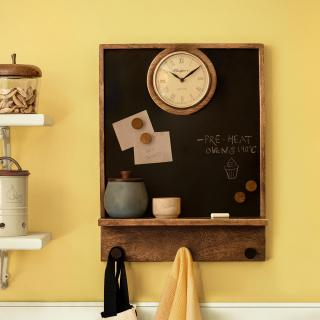 In Time Notice Board with Clock & Shelf
