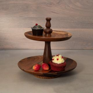 sheesham 2-tier cake stand