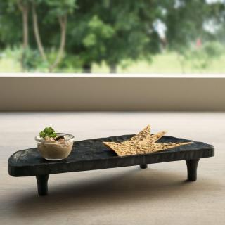 tribal mango wood platter with legs asymmetrical black